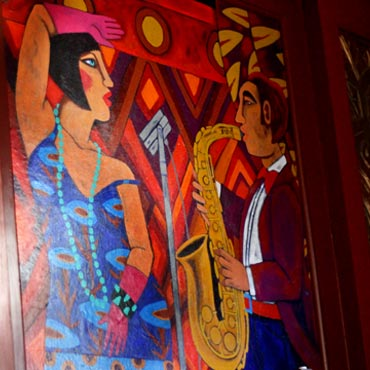 lively paintings in the Hearsay lounge
